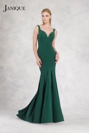 Ruffled skirt dress in emerald green. Stretch crepe gown with train by Janique. Designer long dress with shoulder straps.