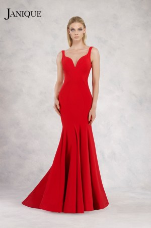 V-neck shoulder strap stretch crepe dress in red with train. Stretch crepe gown with shoulder straps in red by Janique.