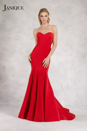 Strapless stretch crepe gown with train. Long dress in red by Janique. Evening wear designer strapless long dress in red.