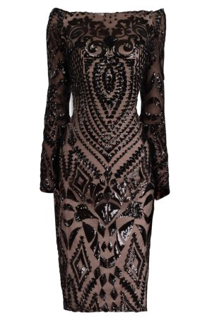 Embroidered cocktail sequin dress with sleeve. Black and nude short dress fully beaded. Designer short gown with embroidery.
