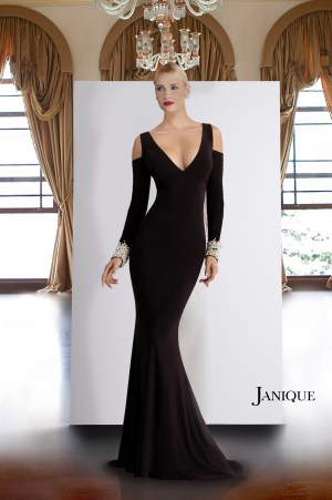 Pearl cuffs jersey long dress. Cold shoulder long sleeve gown with beaded cuffs. Designer long sleeve dress in black.