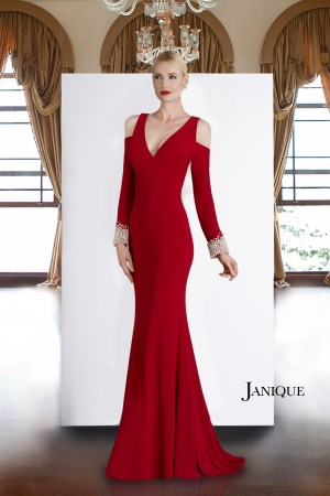 V-neck Special Occasion Couture Red jersey cold shoulder long dress with pearl cuffed sleeves.
