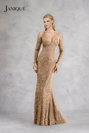 Cold shoulders long sleeve beaded sequin evening wear gown in gold.