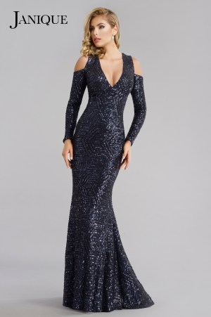 Navy fully covered sequin long dress with sleeves.