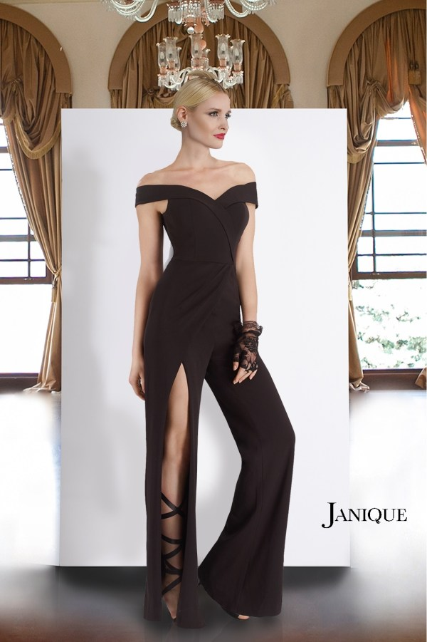 Designer Jumpsuits. Stretch crepe jumpsuit with slit in black. Jumpsuit with slit with off shoulder strap sleeve. Off shoulder jumpsuit in black.