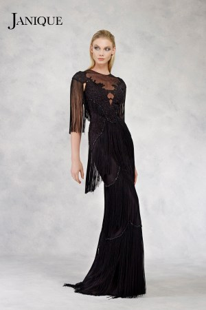 Floral Special Occasion couture. Black lace fringe long dress. Floral lace embroidered gown with fringe three-tiered skirt. Designer fringe gown for MOB.