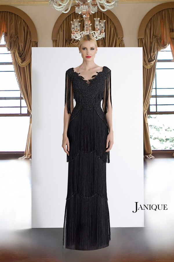 Designer fringe gown for MOB. Floral lace embroidered gown with fringe three-tiered skirt. Black lace fringe long dress.