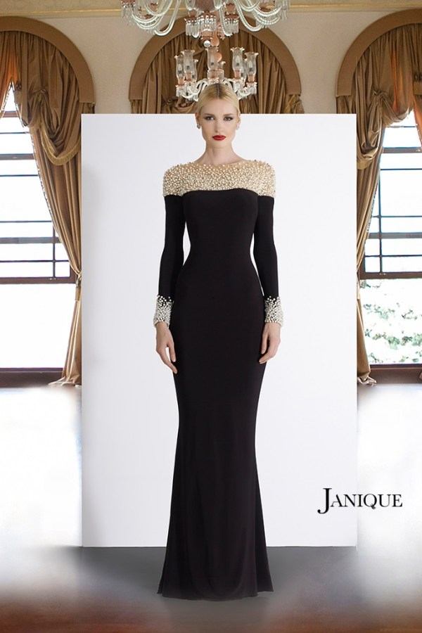 Mother of the Bride gowns. MOB sheer pearl beaded neckline long dress with pearl cuff long sleeves. Long sleeve jersey gown by Janique in black.