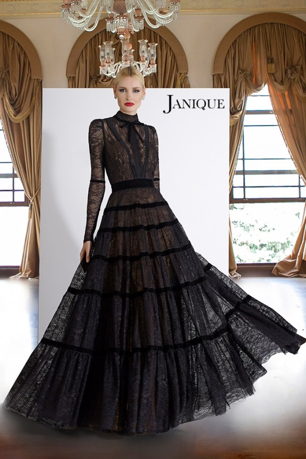 Modest long sleeve lace dress in black. Black long sleeve couture gown by Janique. Long dress with velvet covered in lace.