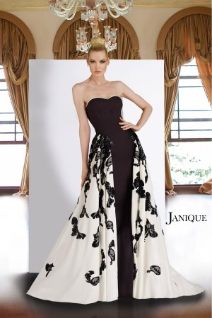 Floral lace applique long dress with overlay side panel skirt. Strapless black white long dress with flower applique.
