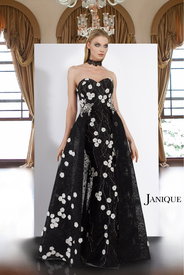 Black and white lace flower applique long gown with overlay skirt. Strapless white flower applique on black lace long dress.