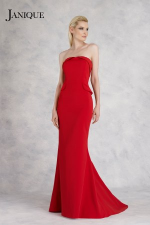 Tuxedo strapless folded neckline and side peplum dress. Red stretch crepe dress with tuxedo top and side peplum by Janique.