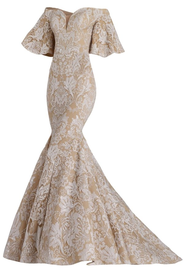 Ivory lace gown with ruffled half sleeve. Lace long dress off the shoulder by Janique in ivory. Mermaid lace designer dress.
