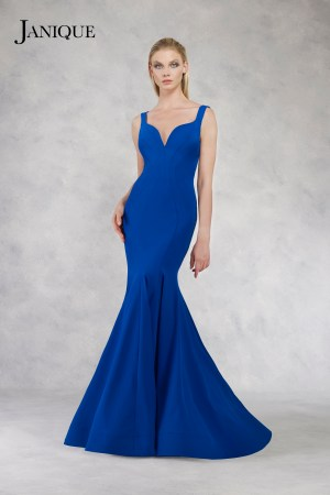 Shoulder strap stretch crepe gown in royal. Blue long dress with train by Janique. Stretch crepe gown in royal with train.