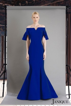 Petal sleeves stretch crepe gown. Long evening dress in royal. Designer long evening gown in royal with sleeves.