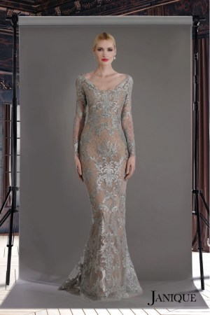 Modest couture. Lace long sleeve evening gown. MOB long dress with sleeve in lace. Silver lace long dress.