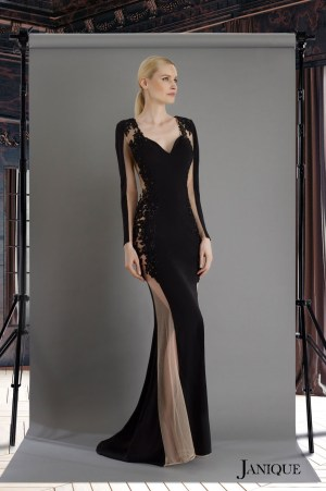 Black jersey long evening gown with lace. Floral lace jersey gown with sleeves. Jersey long dress in black with lace.