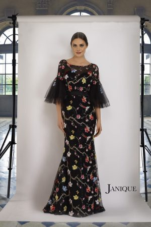 Floral Motif Embroidered Gown
