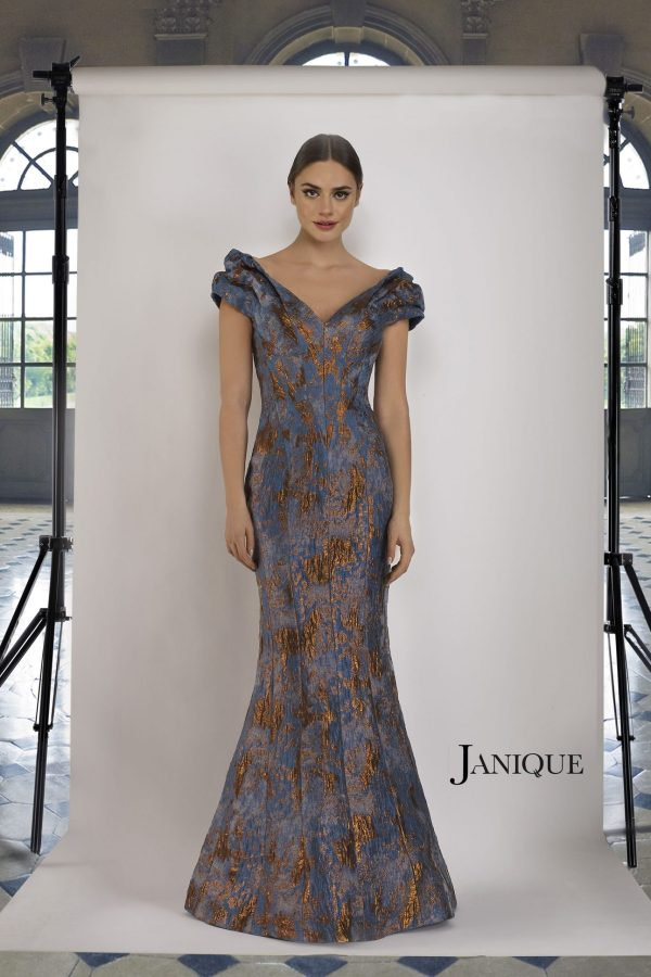 Short Sleeve Jacquard Evening Gown