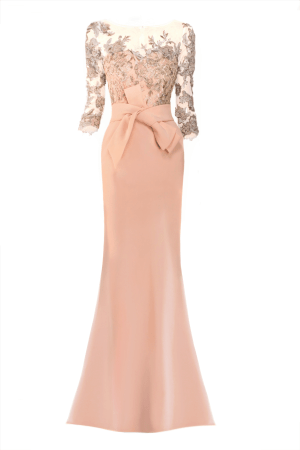 lace and bead adorned evening gown