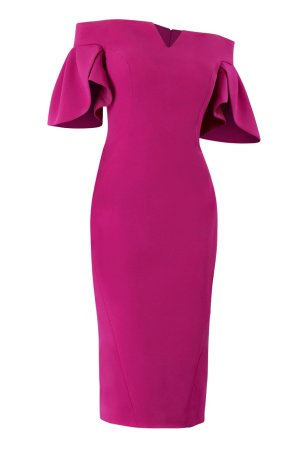 Stretch crepe cocktail dress in fuchsia. MOB cocktail evening gown in fuchsia. Designer short dress in pink by janique.