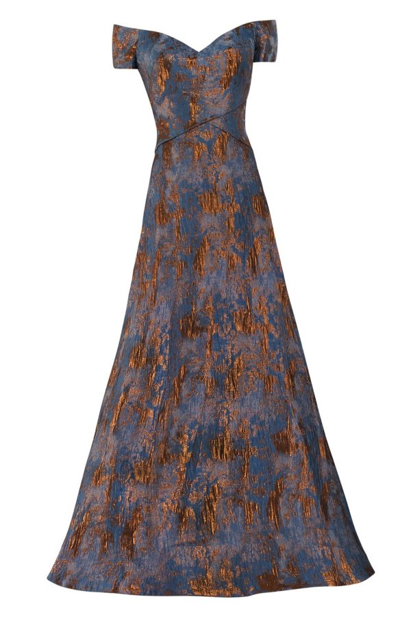 Jacquard A-line Gown