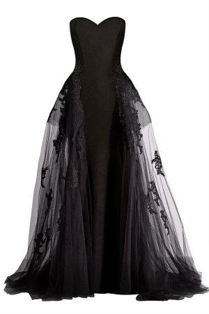Designer black dress with black lace on skirt. Strapless gown with transparent overlay skirt with floral lace applique.
