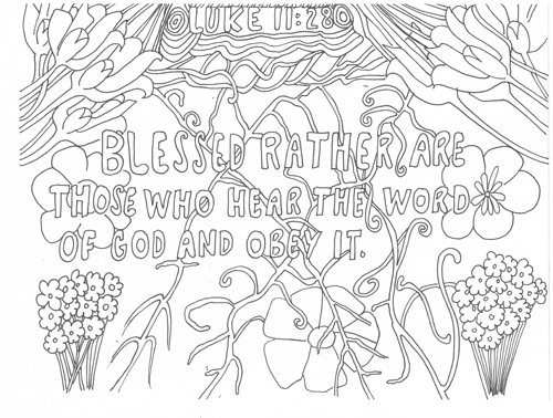 Luke 11:28 colouring Page Janis Cox