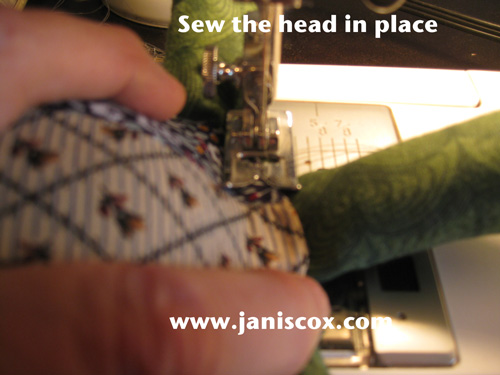 Sew head in place