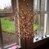 Easter tree at the cottage – white lights aren't just for Christmas!