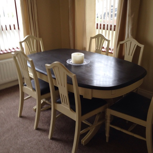 Chalk Paint Makeover Complete Pine Dining Table And