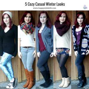 5 Cozy Casual Winter fashion looks for fall and winter style Happy Stylish Fit Lifestyle Blog Social Media Icon
