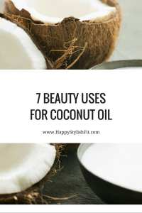 7 Beauty uses for coconut oil including coconut oil makeup remover, coconut oil moisturizer, coconut oil shaving cream, coconut oil teeth whitener, and more.