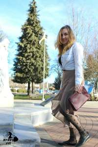 Tips for dressing down a fancy skirt for a more casual outfit.