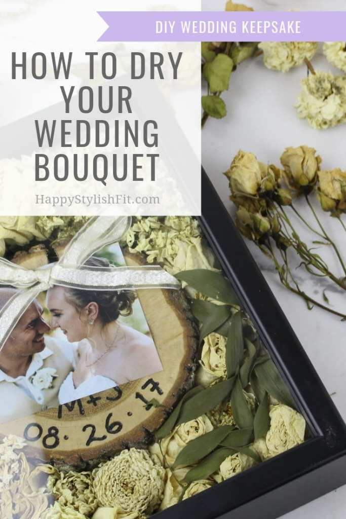 Learn how to dry out your wedding bouquet and recreate this easy DIY wedding keepsake shadow box. Video tutorial included. #Wedding #Bouquet #Bride #Newlywed #DIY