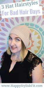 Check out this video tutorial for 3 hat hairstyle that are cute, quick, and easy.