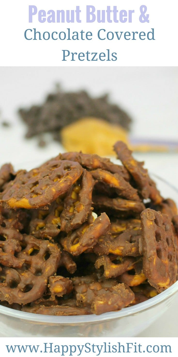 Tasty peanut butter chocolate covered pretzels make a great quick and easy snack that is vegan.