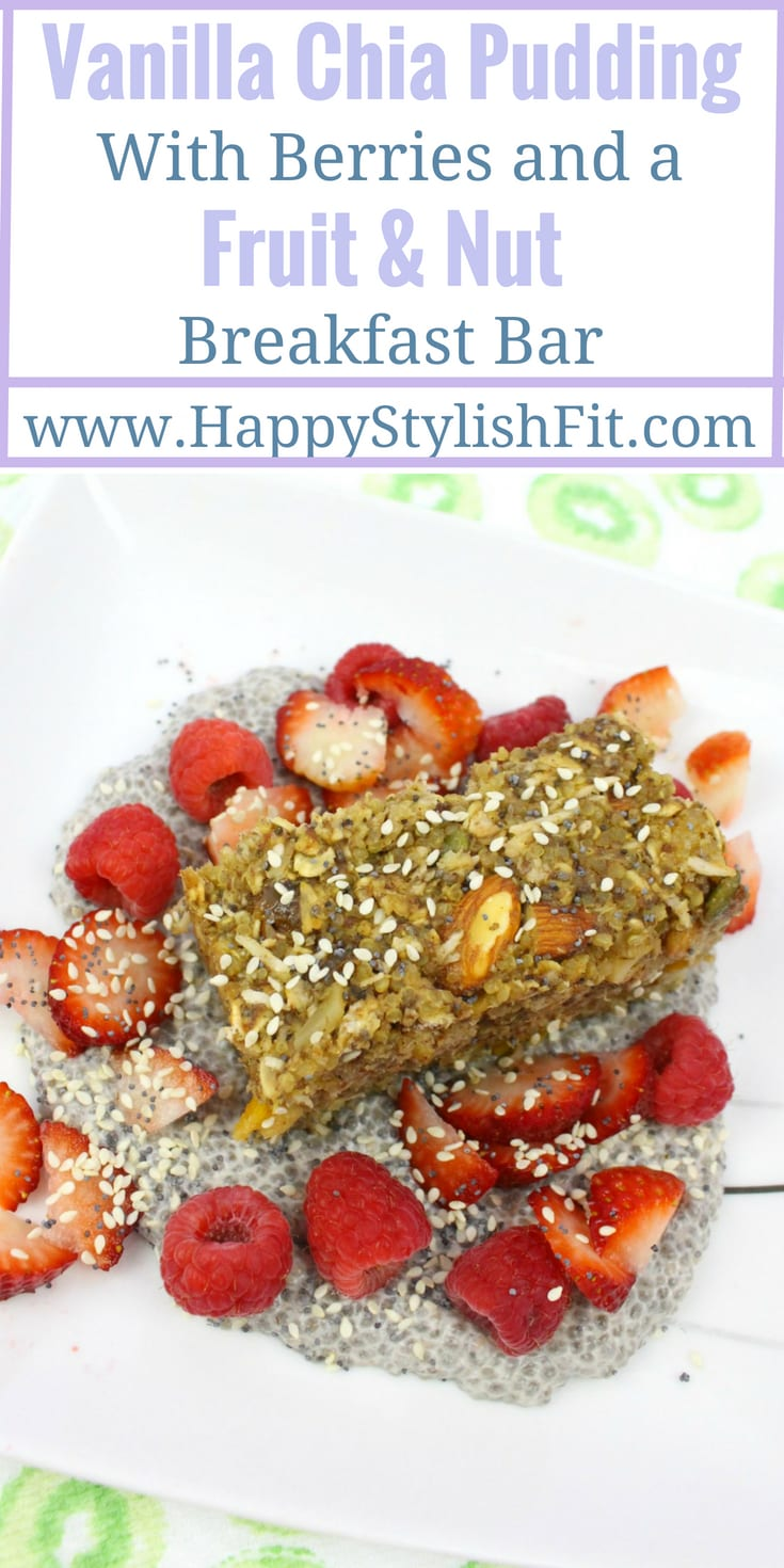 Vanilla chia pudding with berries and a fruit and nut breakfast bar that is easy to make ahead so you can have a quick breakfast on the go. Dairy free and vegan breakfast recipe that is lactation boosting and great for new breastfeeding moms.