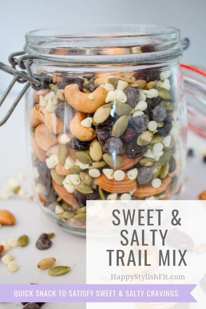 Sweet and salty snack mix is a tasty trail mix great for curbing those cravings in a healthy way.