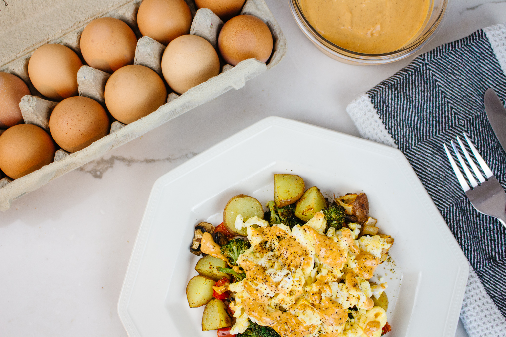 Easy and tasty veggie breakfast hash. Perfect for family weekend breakfasts. You can easily adjust the heat of the chipotle aioli to suit your tastes.