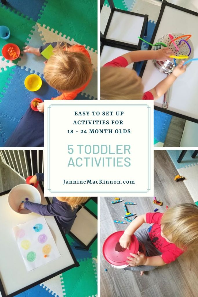 5 Simple toddler activities using items you probably already have at home. These 18 - 24 month old activities will help keep them entertained and require minimal setup.