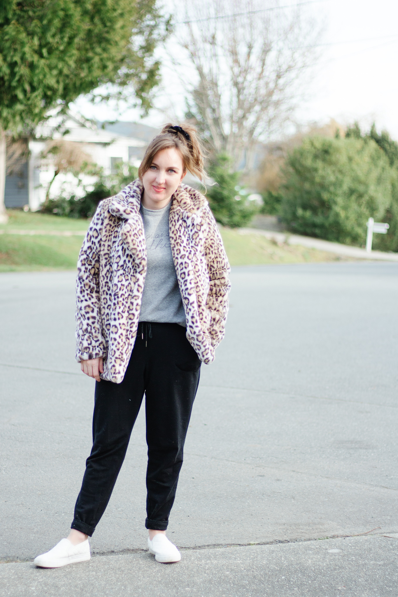 Leopard Coat Styled 5 Ways including dressed down in sweats or dressed up in a lbd