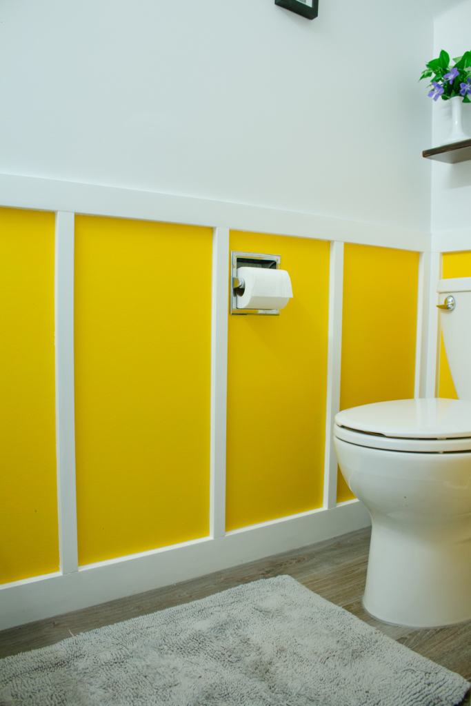 DIY Board and Batten Yellow and White Bathroom Makeover