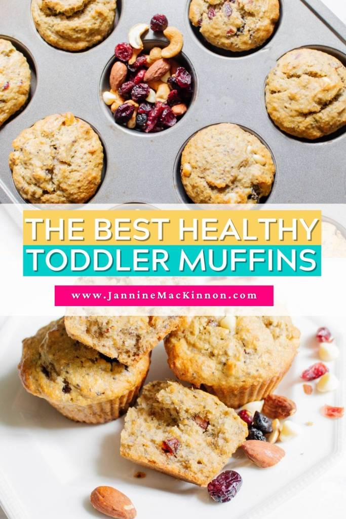 The best healthy toddler snack. A delicous healthy muffin recipe made from trail mix, almond flour, seeds and other tasty ingredients, and no refined sugar!