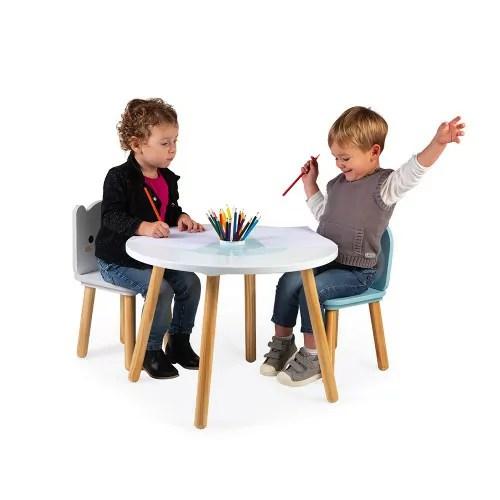 table et 2 chaises banquise bois