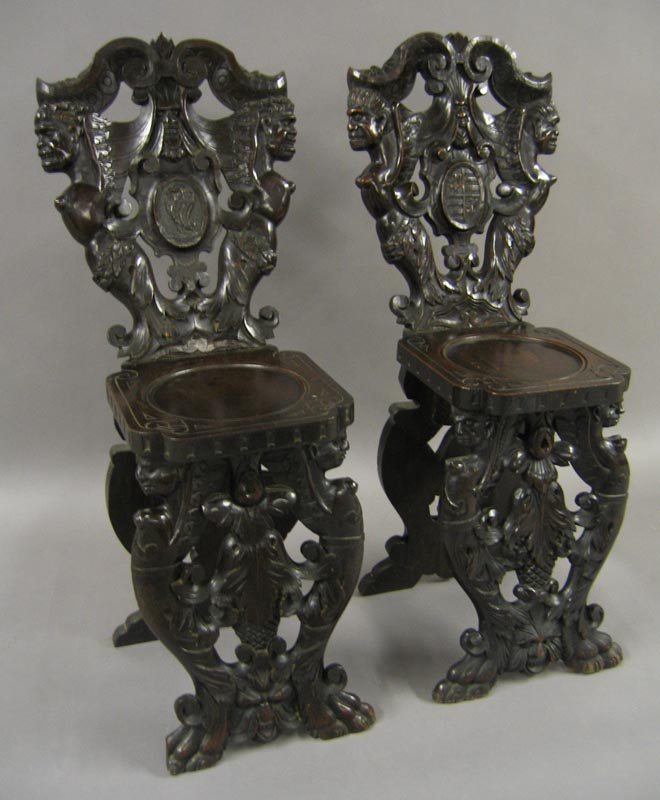 Fine Pair Of Italian Baroque 19th Century Carved Walnut