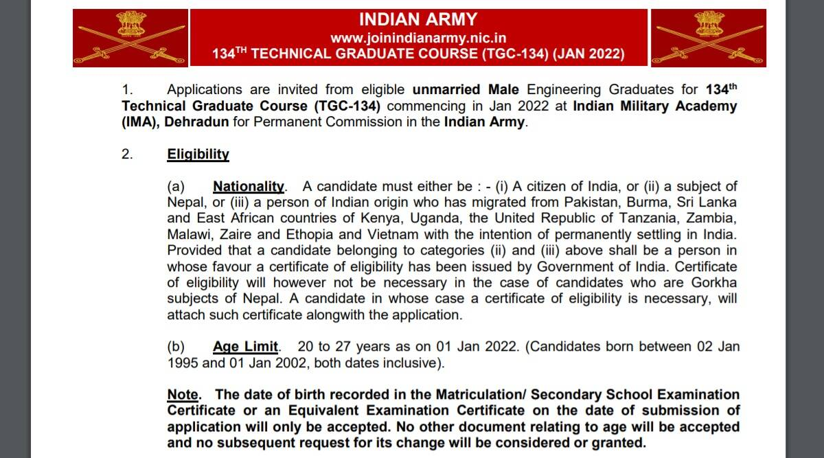Indian Army Recruitment 2021: Apply online for TGC course at joinindianarmy.nic.in before 15 September.  Check here for eligibility criteria and other details