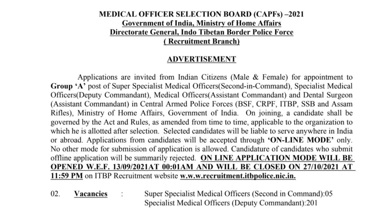 CAPF Recruitment 2021: Apply online for various Medical Posts at recruitment.itbppolice.nic.in from 13 September.  Check here for age limit and other details