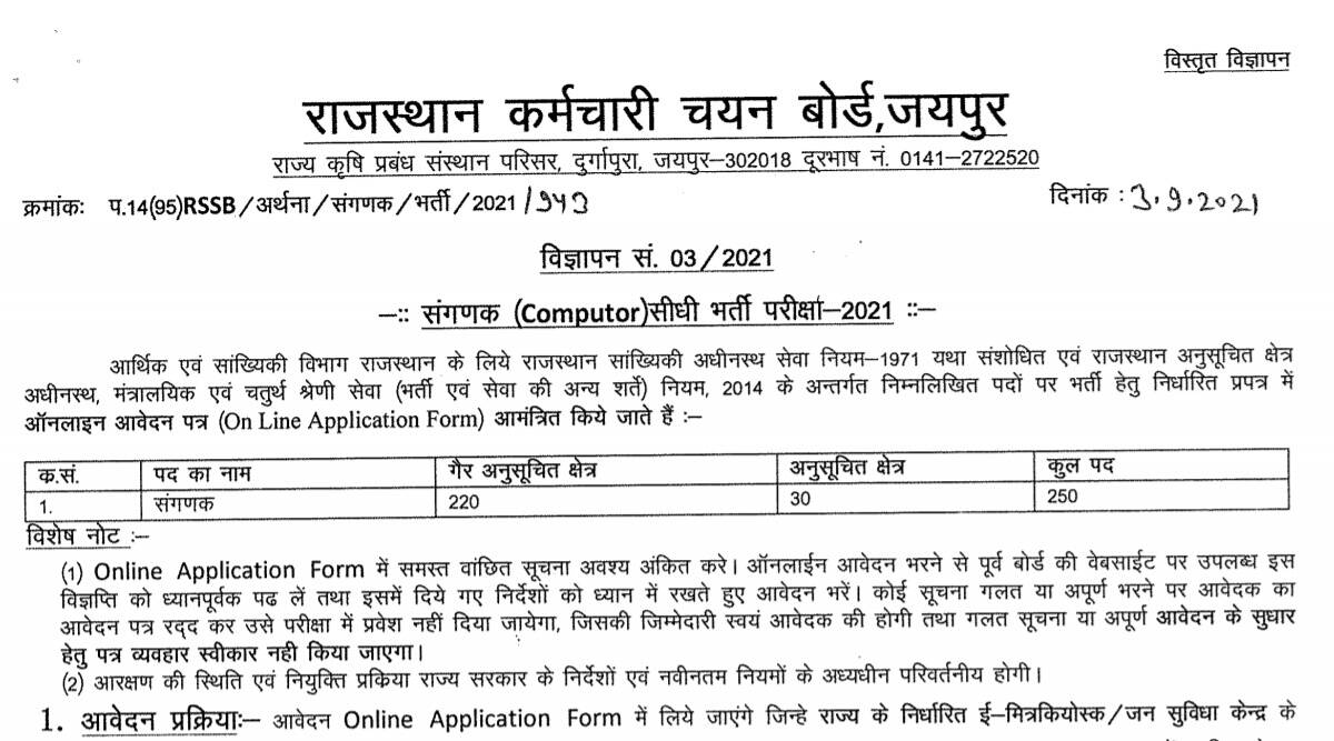 RSMSSB Recruitment 2021: Apply online for the post of Computer at sso.rajasthan.gov.in from 8 September.  Check here for latest updates