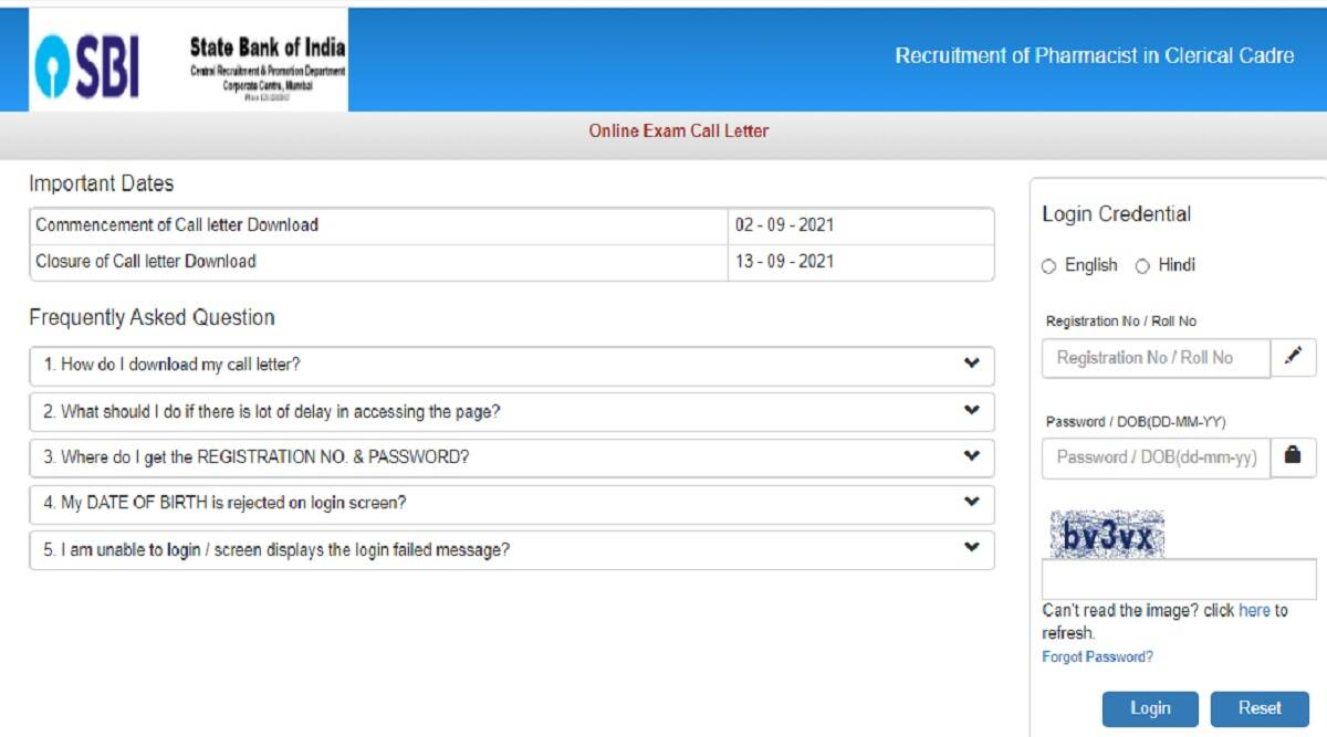 SBI Admit Card 2021: SBI Pharmacist Admit Card 2021 Out at sbi.co.in